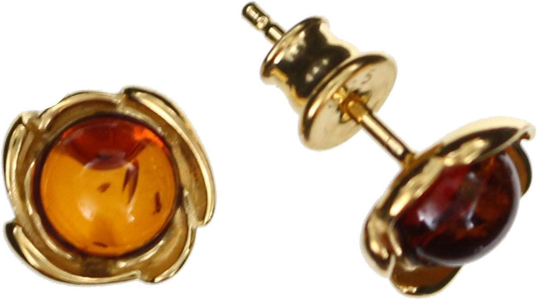 Pendientes de ámbar de Artisana, pequeños, redondos, engaste de plata de ley 925/000 chapada en oro
