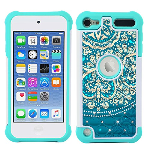 iPod Touch Case, iPod Touch 5 Case, iPod Touch 6 Case, MagicSky [Shock Absorption] Studded Rhinestone Bling Hybrid Dual Layer Armor Defender Protective Case Cover For iPod Touch 5th / 6th Gen-FLOWER1