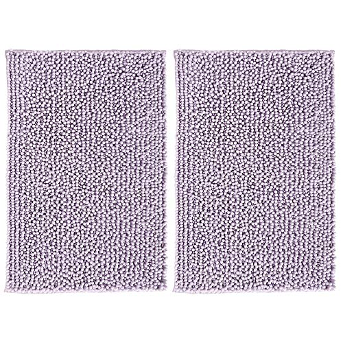 mDesign Soft Microfiber Non-Slip Polyester Non-Slip Rectangular Spa Mat, Plush Water Absorbent Accent Rugs for Bathroom Vanity, Machine Washable - 30 x 20 - Sets of 2, Lavender/Purple