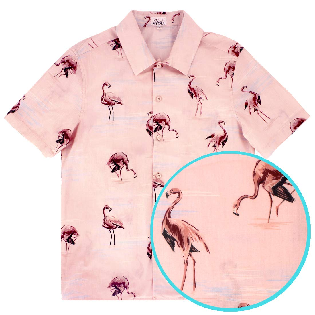 8c546d90 ROCK ATOLL Men's Light Pink Flamingo Print Casual Short Sleeve Button-Down  Shirt at Amazon Men's Clothing store:
