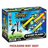 Toys : Stomp Rocket Stunt Planes - 3 Foam Plane Toys for Boys and Girls - Outdoor Rocket Toy Gift for Ages 5 (6, 7, 8) and Up