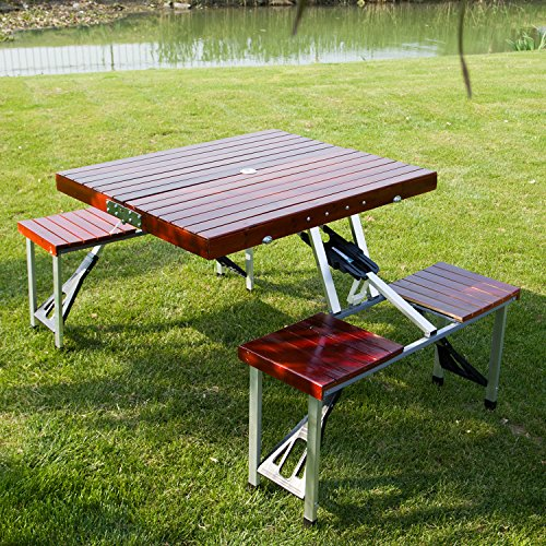 Kinbor Wooden Garden Portable Suitcase Folding Outdoor Picnic Table Set w/4 Chairs