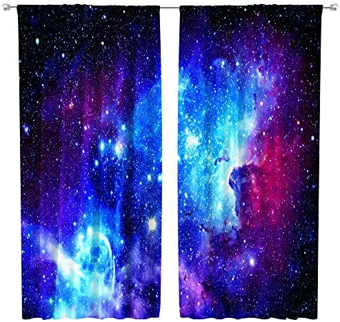 Riyidecor Galaxy Outer Space Nebula Curtains Blue Rod Pocket Universe Planets Psychedelic Fantasy Star Black Art Printed Living Room Bedroom Window Drapes Treatment Fabric 2 Panels 42 x 63 Inch