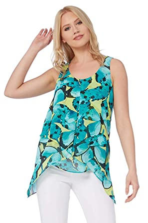 c1032b346e5313 Roman Originals Women Butterfly Print Asymmetric Top - Ladies Chiffon  Dipped Hem Sleeveless Summer Holiday Tops - Turqouise Blue  Amazon.co.uk   Clothing