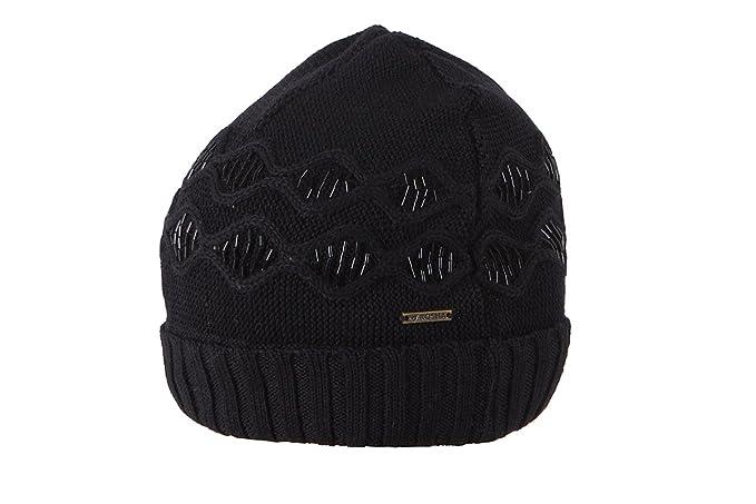 c3969e81946 Kosha Women s Winter Merino Woollen Diamond Rowed Cap (Black