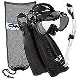 Cressi Pro Light Open Heel Diving Fin with Frameless Combo, BK-LXL