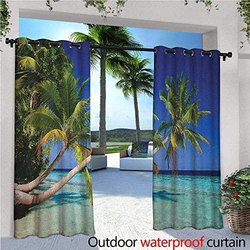 - Ocean Outdoor- Free Standing Outdoor Privacy Curtain Maldives Bay Paradise Resort Summer in Pacific Holiday Destinations for Front Porch Covered Patio Gazebo Dock Beach Home W120