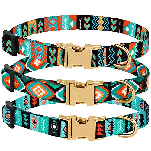 CollarDirect Nylon Dog Collar with Metal Buckle Tribal Pattern Puppy Adjustable Collars for Small Dogs (Pattern 2, Neck Fit 7-11)
