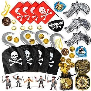 THE TWIDDLERS 80 Granel Juguetes Fiesta Piratas - Accesorios Disfraces Brújulas Pistolas Monedas Collares - Rellenar Piñatas Bolsas Regalo Cumpleaños ...