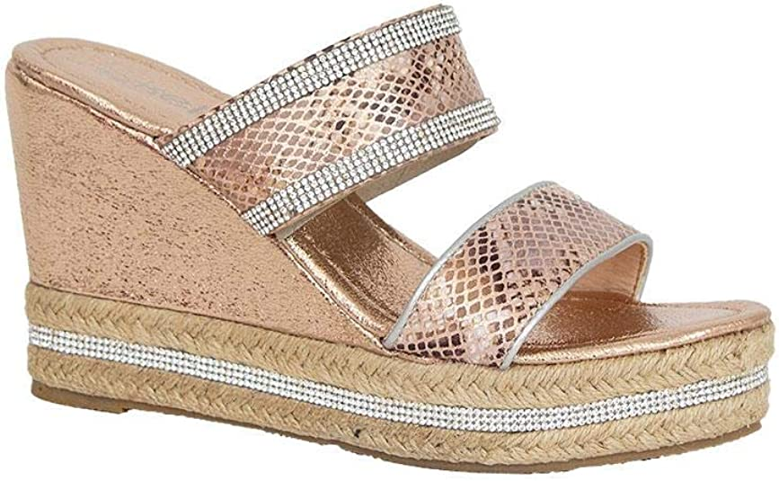 shelikes Womens Ladies Sparkly Wedge