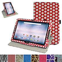 "Acer Iconia One 10 B3-A30 Rotating Case,Mama Mouth 360 Degree Rotary Stand With Cute Lovely Pattern Cover For 10.1"" Acer Iconia One 10 B3-A30 Android Tablet, PolkaDot Red"