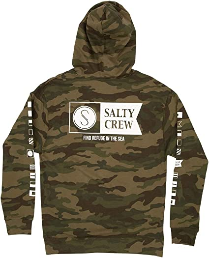 Salty Crew Mens Angry Bull Hood Tech T-Shirt Navy Heather Size NVYHTR