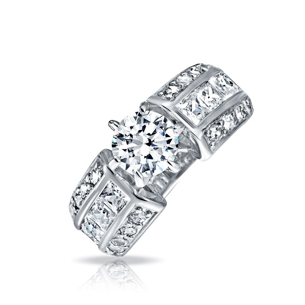 Sterling Silver Round Cut CZ Wide Band Engagement Ring
