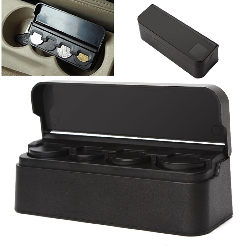 iTimo Universal Car Coin Holder Black Plastic Auto Coin Case Storage Box Holder Container Car Orginazer Accessories