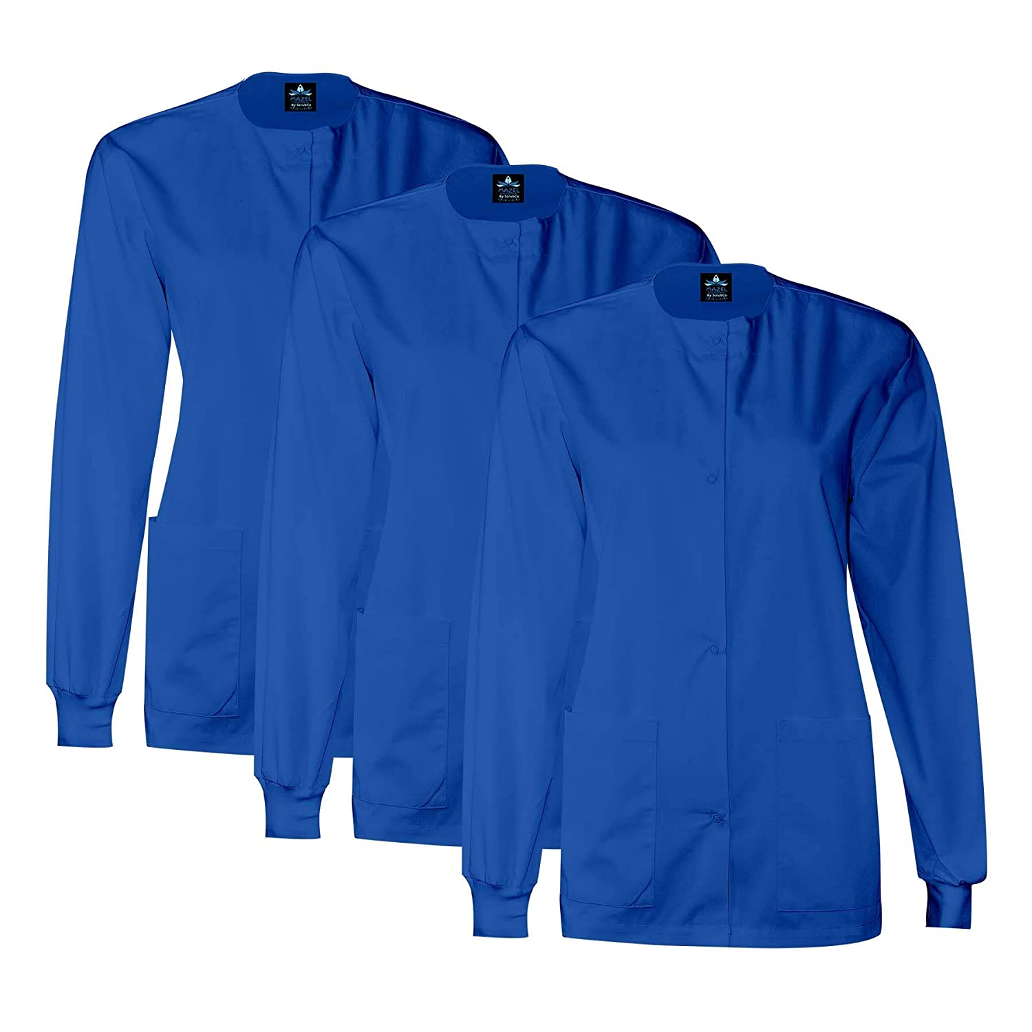 3 Pack Royal bluee MAZEL UNIFORMS Womens Scrub Jacket Warm UP Jacket with Snaps Many colors
