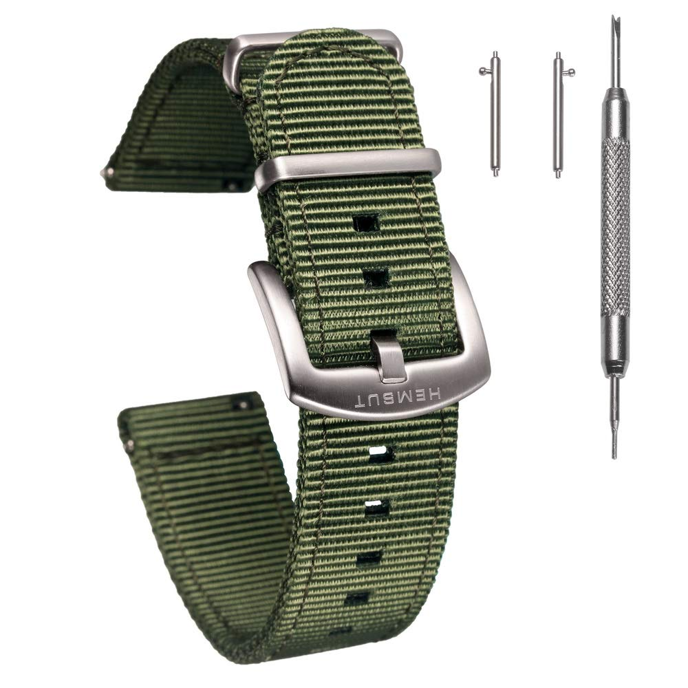 Torbollo Quick Release Watch Green Bands, 18mm Watch Band, Quality Nylon Strap and Heavy Duty Brushed Buckle by torbollo