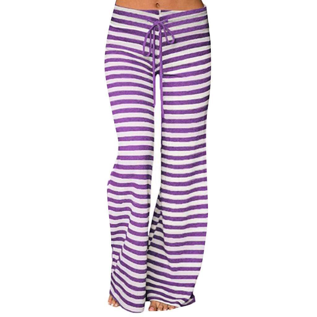 UFACE 2019 Nouvelle Femme Pantalon de Yoga Longue Chic Jambe Large Pantalon D/écontract/é Taille Haute /Élastique Cordon Imprim/é Floral Cordon Large Sport Pants Casual Mode Leggings Droit Evas/ée