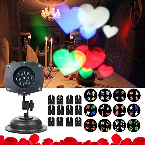 Valentine's Day Projector Light, Hosyo Motion Landscape Christmas Lights Projector LED Spotlights 120V Waterproof With 12pcs Switchable Pattern For Christmas Halloween Holiday Home Decoration Wall