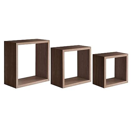 Mensole Quadrate Design.Milo Srl Set 3 Cubi Mensole Da Parete Pensili A Giorno Cubo