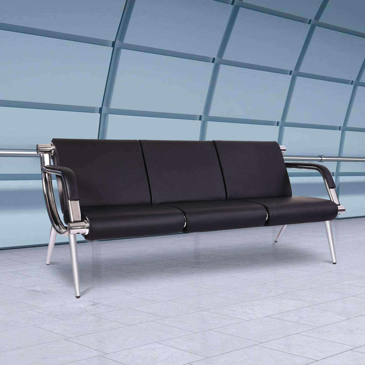PU Leather Waiting Room Chairs 3-seat Airport Seating Reception Bench for Clinic Office School Salon with Arms by Kinbor