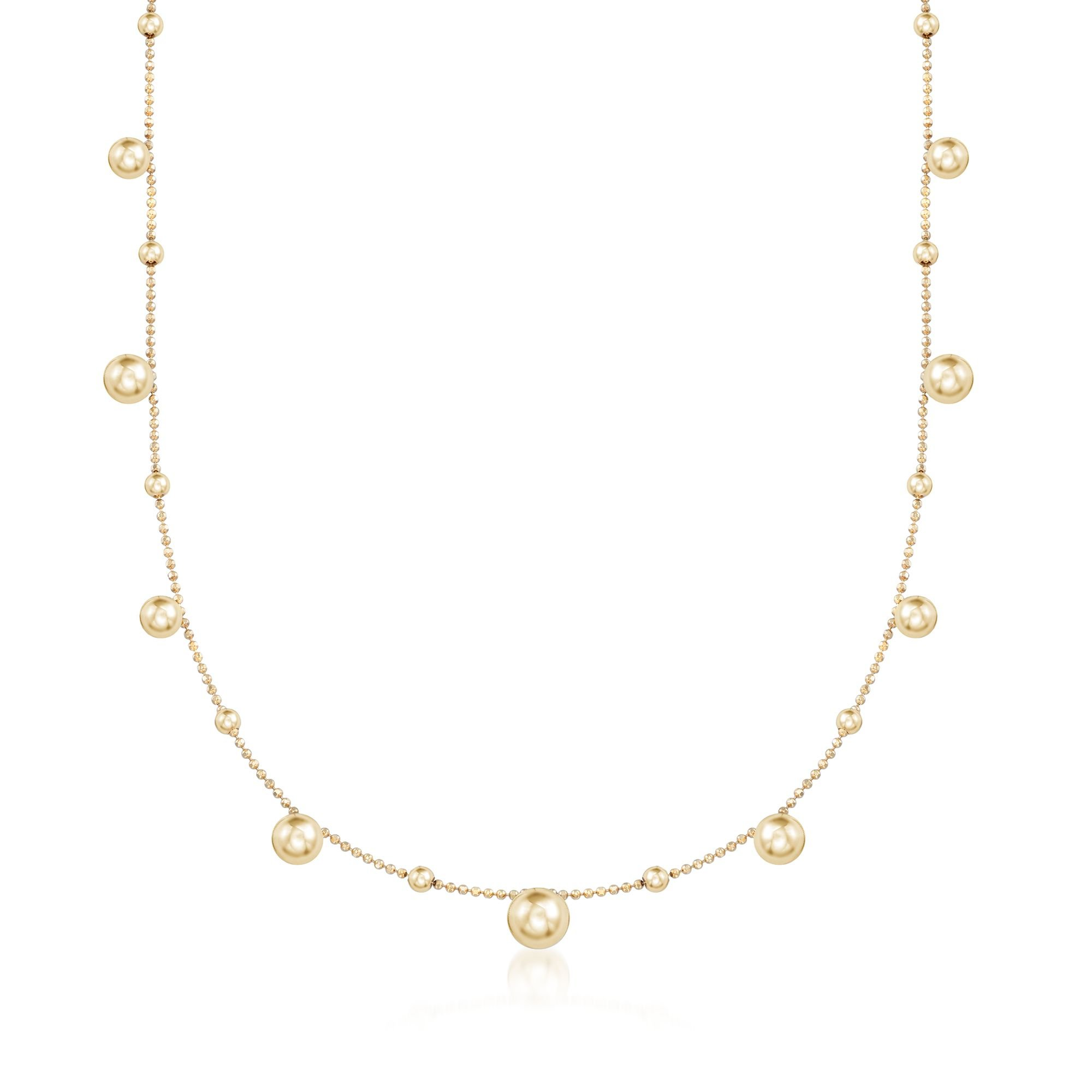 Ross-Simons Italian 18kt Yellow Gold Over Sterling Silver Multi-Bead Station Necklace