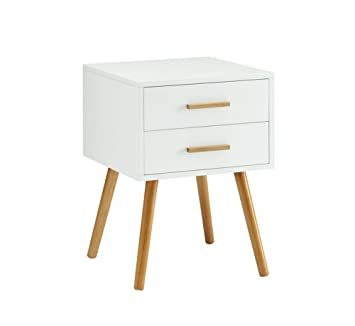 Convenience Concepts Oslo 2 Drawer End Table, White