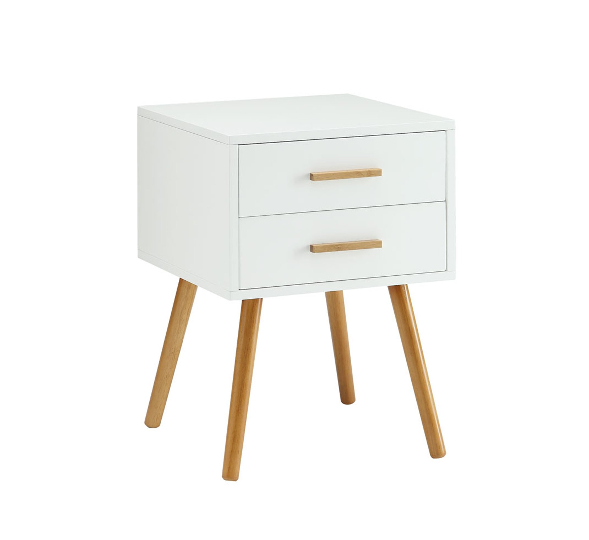 Convenience Concepts Oslo 2 Drawer End Table, White - Part of the Oslo Collection by Convenience Concepts Boasts a mid-century style to update any home decor Crafted from MDF/rubberwood/non-lead based paint/bamboo - living-room-furniture, living-room, end-tables - 61HLj2YVp2L -
