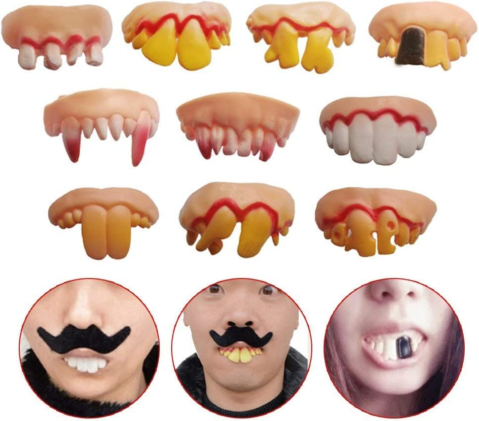 Gnarly Teeth Mouth Costume Billy Bob Prank Fake Tooth Smile Funny Face Set Vinyl