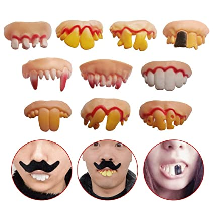 Amazon com: Odowalker 10 Pcs Different Style Fake Teeth Toy