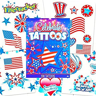 Patriotic American Flag Temporary Tattoos Set (Over 110 USA Tattoos, 4th of July Party Supplies)