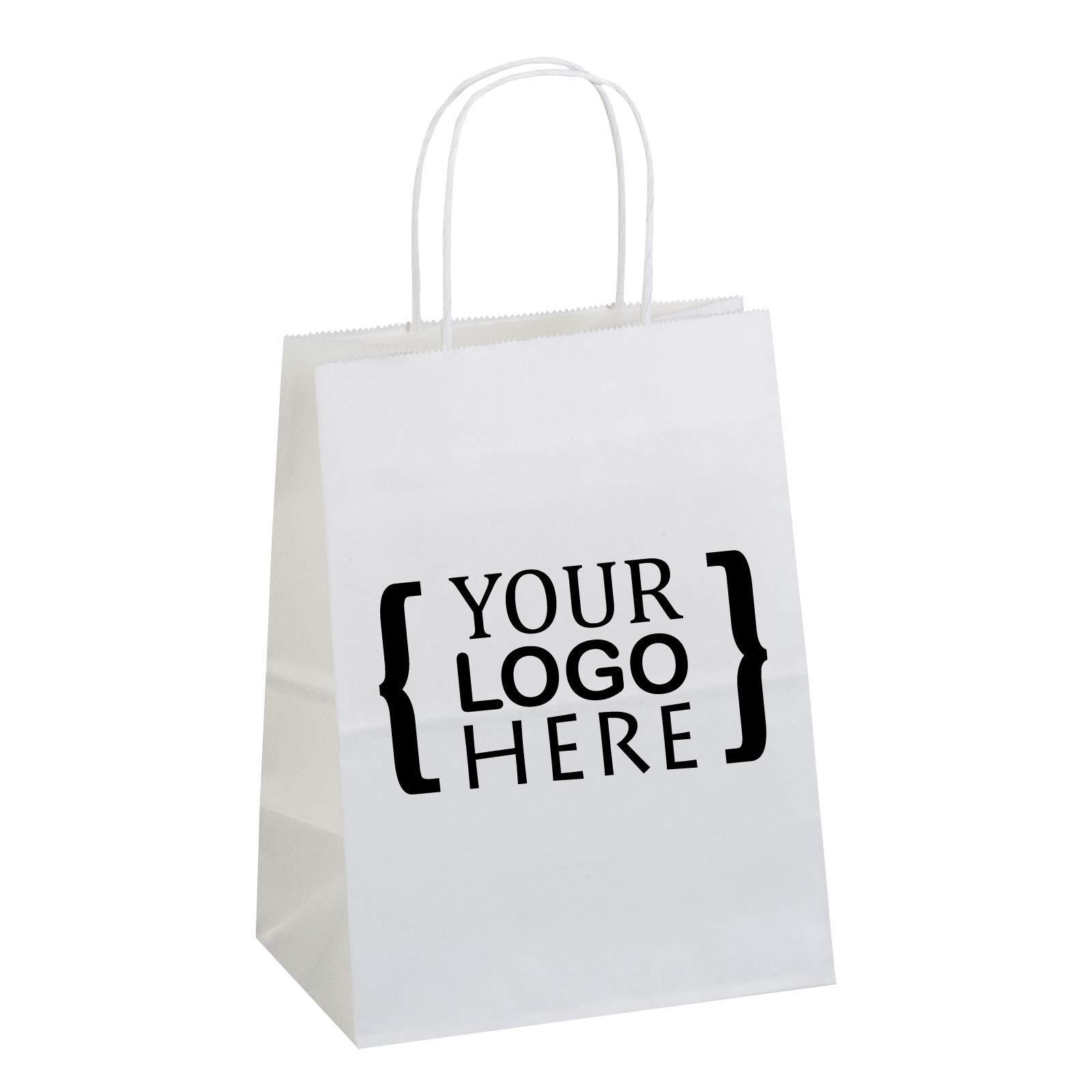 Flexicore Packaging 8''x4.75''x10'' - 100 Pcs White Kraft Paper Bags, Shopping, Merchandise, Party, Gift Bags, (1