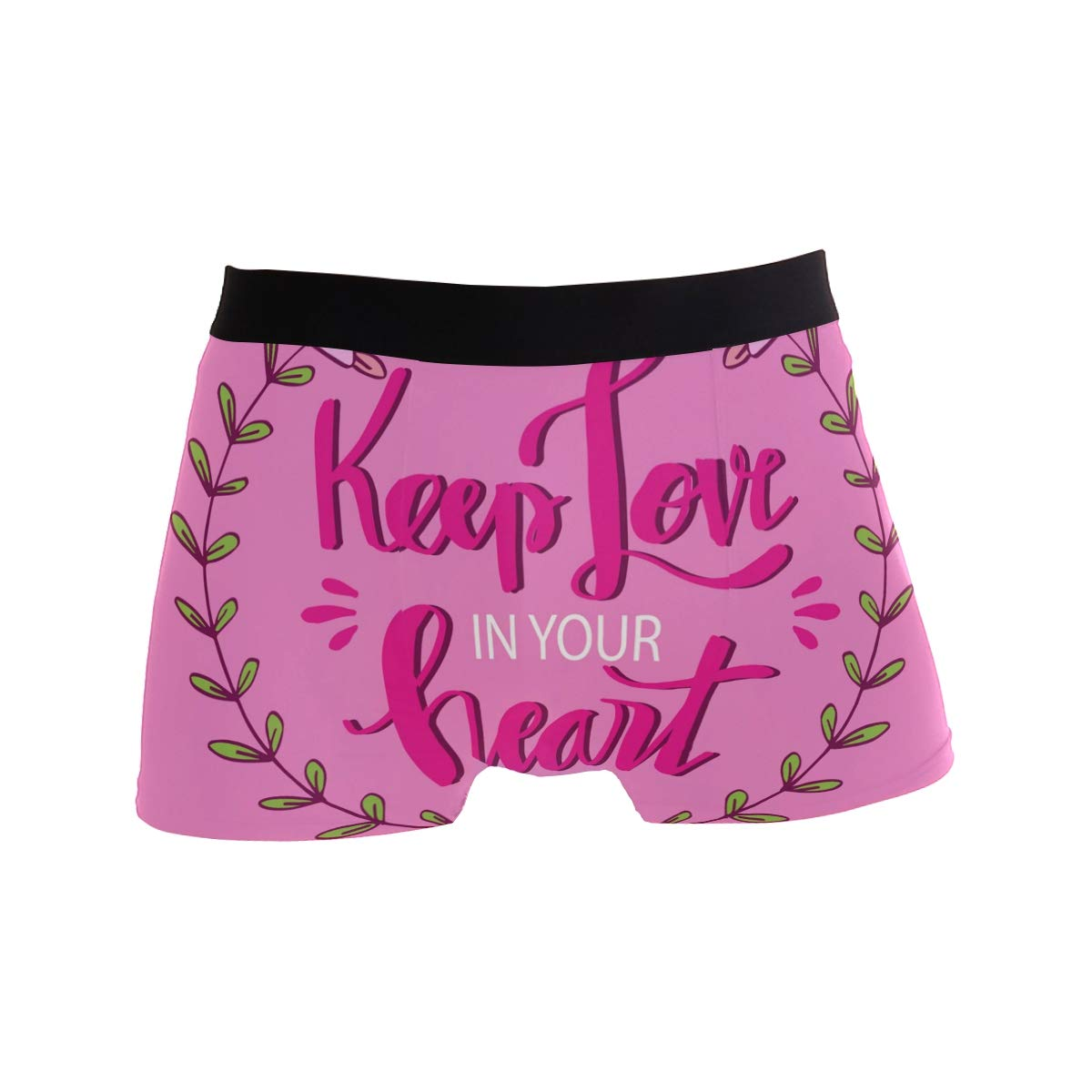 Men Boxer Briefs Polyester Underwear Men 2 Pack Boxer Briefs for Valentines Gift with Keep Love in Your Heart Pattern