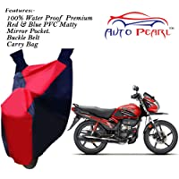 Auto Pearl-100% Water Proof PVC Matty Red & Blue Bike Body Cover with Mirror Pockets,Buckle Belt,Carry Bag for -Passion Pro TR