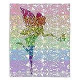 DiaNoche Fleece Blankets Soft Fuzzy 4 Sizes! by Susie Kunzelman Fairy Dance Rainbow - Large 80'' x 60''