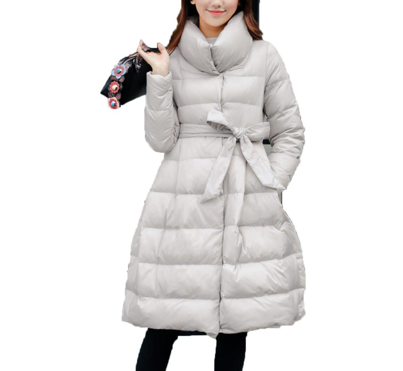 LQABW Winter Down Jacket Una Capa De Palabra Cintura Acolchado Puffa
