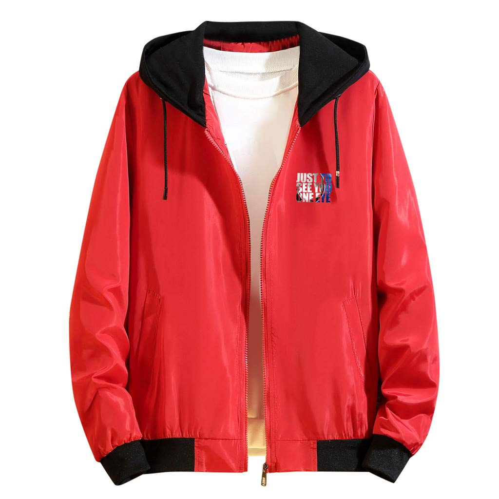 Casual Youth Jacket Loose Men's Jacket Warrior Thin Coat Sports Jacket Windbreaker Sun Protection Clothings Outwear Red by Amandaz Clothes