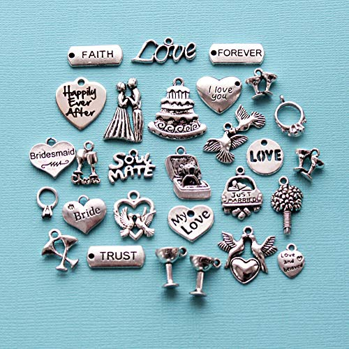 (Deluxe Wedding Charm Collection Antique Silver Tone 28 Charms - COL332)