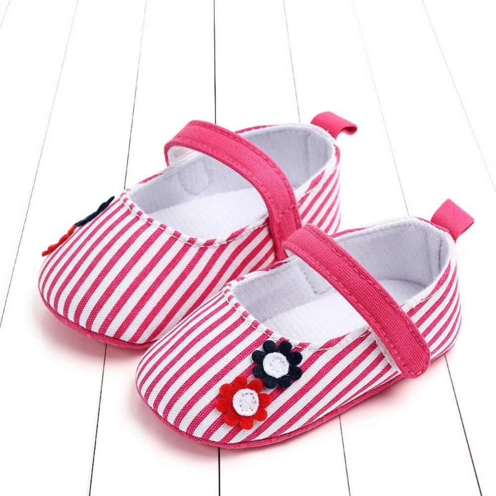 Newborn Baby Cute Girls Striped Flower Princess First Walkers Soft Sole Shoes