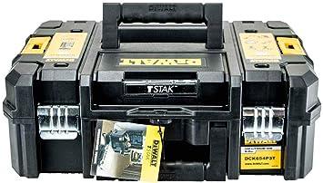 DEWALT - Caja de transporte de herramientas T-Stak, color negro, con capacidad para la mayoría de taladros inalámbricos XR de 18 V DCD795 DCF886 DCF836 DC: Amazon.es: Bricolaje y herramientas