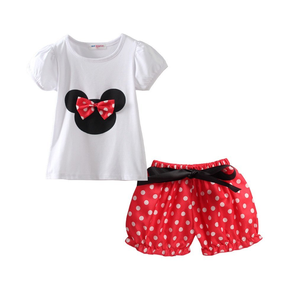 Mud Kingdom Little Girls' Polka Dot Cute 2pc Clothing Sets Z-T0516