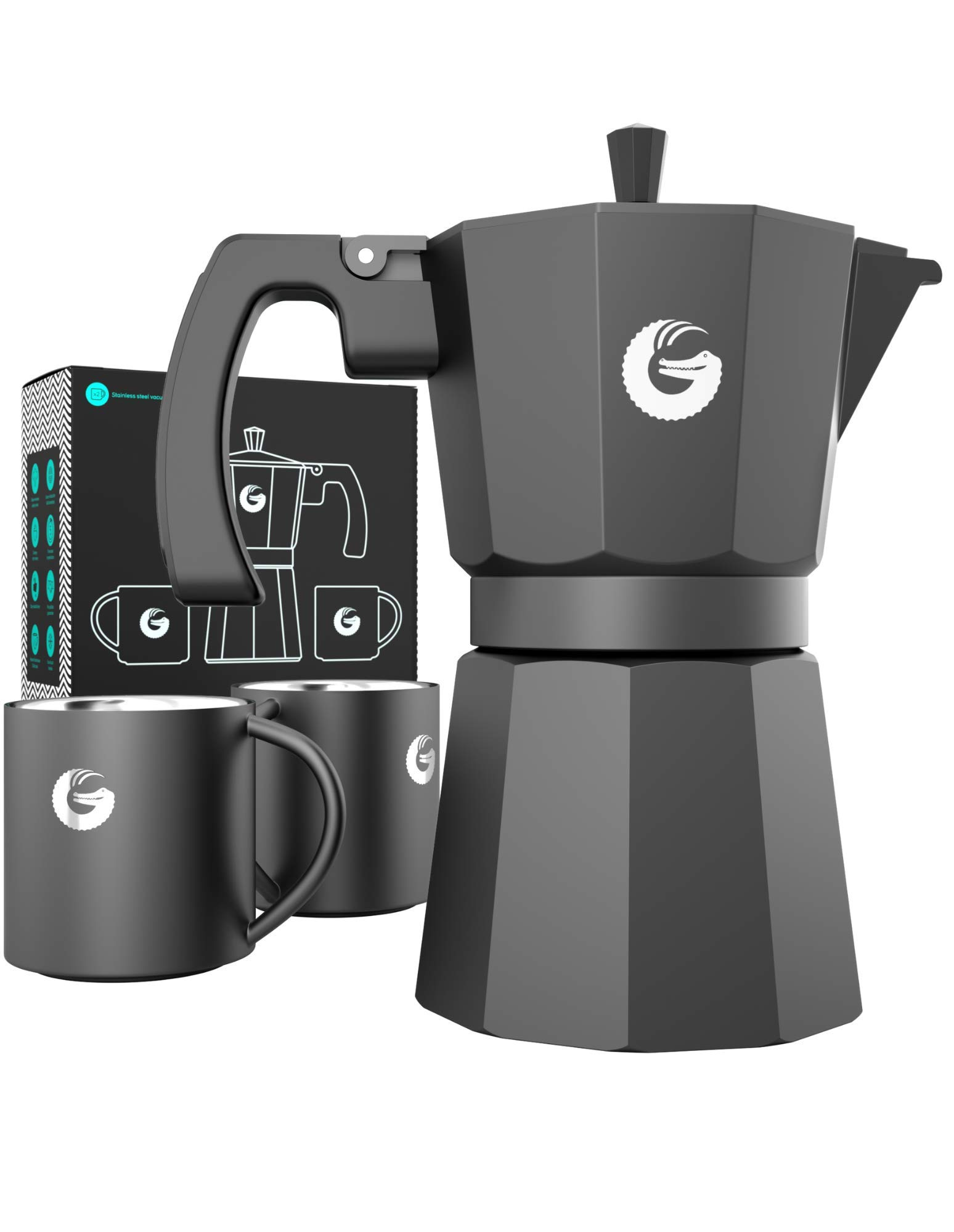 Coffee Gator Espresso Moka Pot - Stovetop Brewer Plus 2 Thermal Cups - 12 Ounce