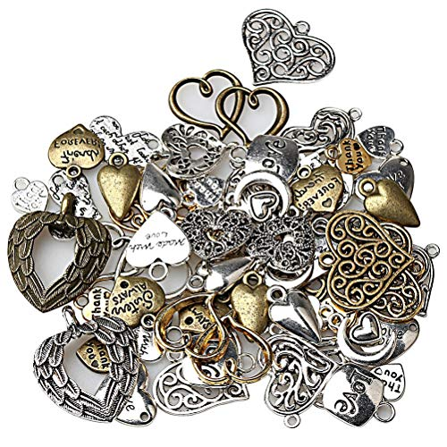 HSAN 100G/pack Mixed Charms Pendants, Mixed Love Charms Heart Shape Steampunk Charm Pendant for Jewelry Making Charms