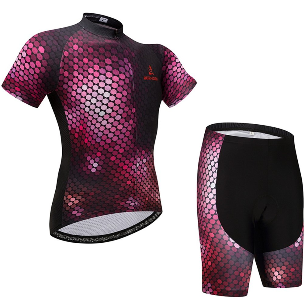 Uriah Women's Cycling Jersey Shorts Sets Short Sleeve Honeycomb Size 4XL(CN) by Uriah