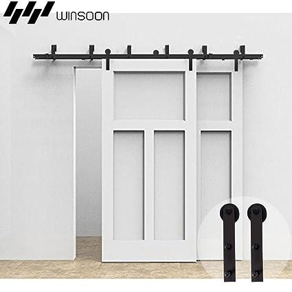 WINSOON 5FT Bypass Sliding Barn Wood Door Hardware Interior Sliding Closet  Door Bracket Black Rustic Sliding
