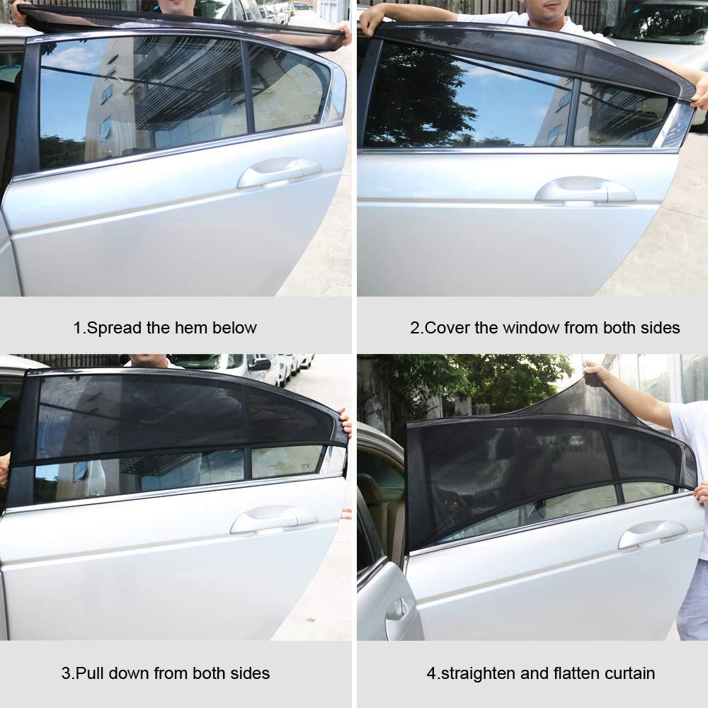 2 Stück Universal Sonnenschutztuch Sonnenblende Auto Seitenscheibe Baby Schutz E
