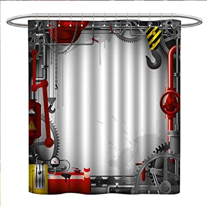 Littletonhome Industrial Shower Curtains Fabric Engineering Themed Gears Levers Pipes And Meters Flue Lifting Crane Bathroom