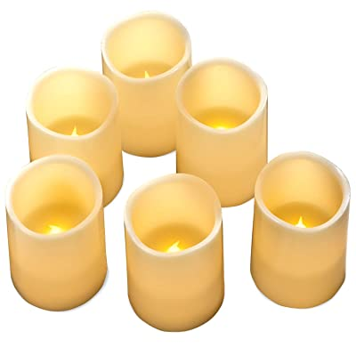 "Hayley Cherie - Real Wax Flameless Candles with Timer (Set of 6) - Ivory LED Candles 3"" Wide x 4"" Tall - Flickering Amber Flame - Battery Operated Pillar Candles - Large Unscented: Home Improvement"