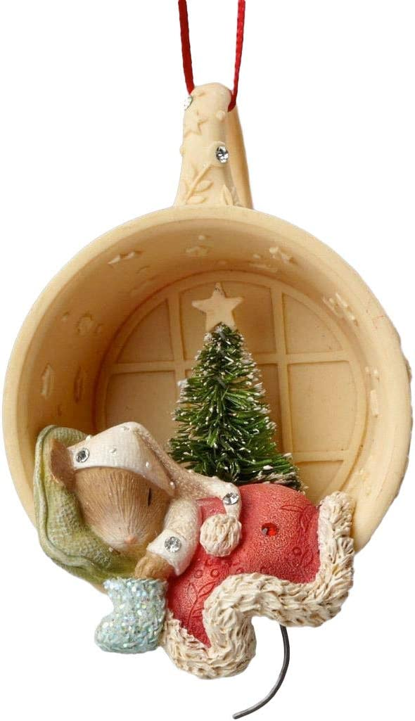 Enesco Heart of Christmas Mouse Sleeping in Cup Ornament 2.87 in