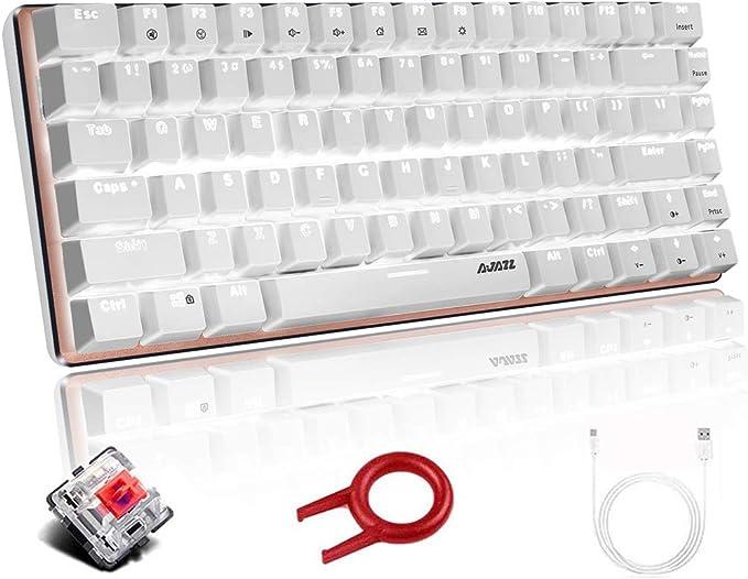 Teclado mecánico, AK33 Teclado mecánico para Juegos con Cable USB retroiluminado con LED Blanco, Teclado Compacto para Juegos de 82 Teclas con Teclas ...