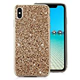 iPhone X/iPhone XS Case [with Free Screen Protector],Funyee Luxury Shiny Sparkle Diamond Ultra-Thin Silicone Gel TPU Anti Scratch Durable Rubber Smart Case for iPhone X/iPhone XS 5.8 inch,Gold